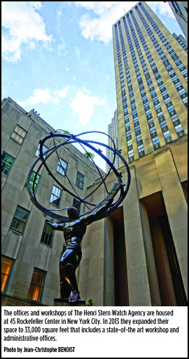 The offices and workshops of The Henri Stern Watch Agency are housed at 45 Rockefeller Center in New York City.