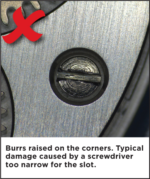 Burr raised on the corners. Typical damage caused by a screwdriver too narrow for the slot.