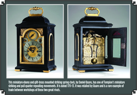 Miniature Ebony and Gilt Brass Mounted Striking Spring Clock