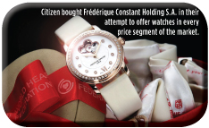Citizen bought Frédérique Constant Holding S.A. in their  attempt to offer watches in every  price segment of the market.