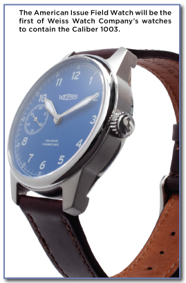 The American Issue Field Watch will be the first of Weiss Watch Company's watches to contain the Caliber 1003.
