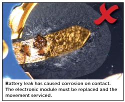 Battery leak has caused corrosion on contact. The electronic module must be replaced and the movement serviced.