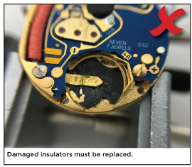 Damaged insulators must be replaced.