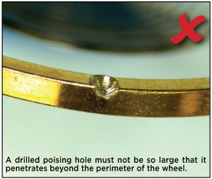 A drilled poising hole must not be so large that it penetrates beyond the perimeter of the wheel.