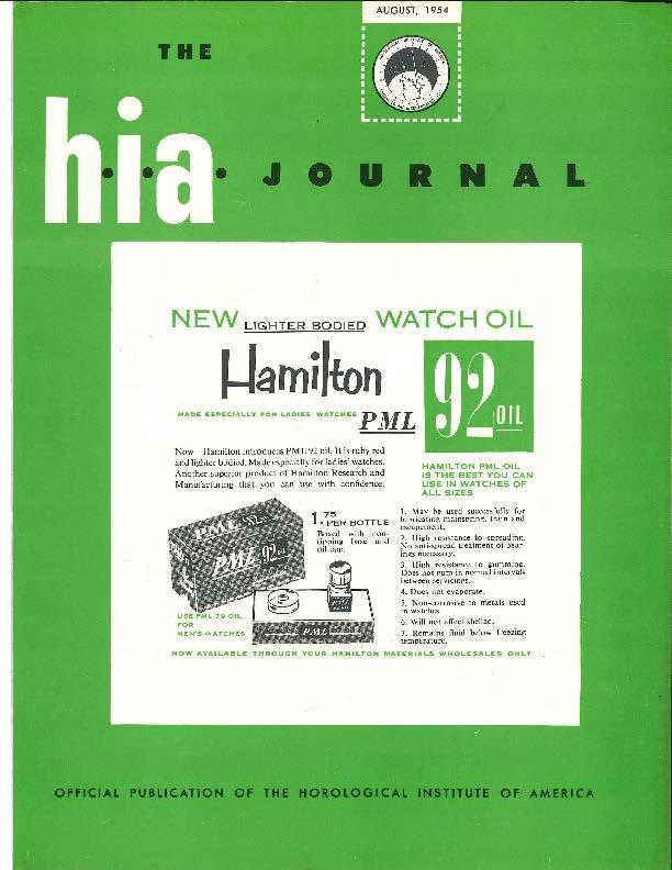 August 1954 HIA Journal