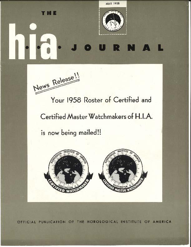 May 1958 HIA Journal